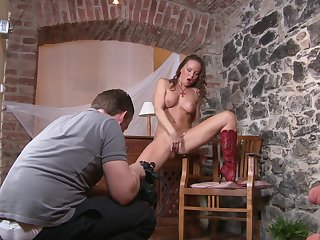 Brunette Silvia Saint proves that her body is just perfect as she masturbates naked