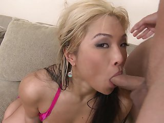 Blonde oriental Mia Rider with huge knockers is a facial cum slut