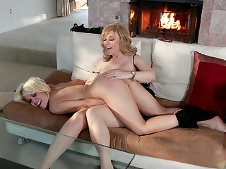 Blonde Ash Hollywood and Teal Conrad enjoy another lesbian sex session for the camera