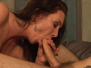 Brunette Rayveness spends her sexual energy with Wolf Hudson's rock solid love stick in her mouth