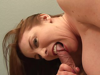 Brunette enjoys the warmth of mans rock hard sausage deep down her throat