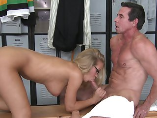 Blonde Nicole Aniston is one oral slut that gives Peter North's thick rod a try