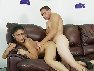 Brunette Persia Pele with massive knockers spends her sexual energy