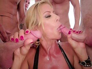 Blonde Alexis Fawx with huge knockers gets jizzed on in steamy cumshot scene