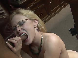 Blonde has fire in her eyes as she milks cum loaded pole of her dude