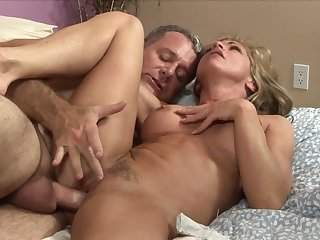 Blonde with juicy tits has a good time playing with cum loaded cock