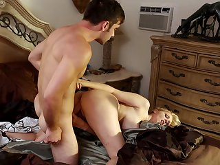 Blonde Julia Ann with gigantic tits gets the mouth fuck of her dreams with hard dicked bang buddy Logan Pierce
