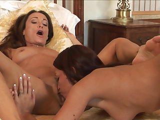 Brunette Michelle Lay is hungry for lesbian sex and gets used by Ann Marie Michelle