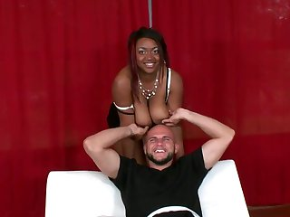 Chocolate Jmac with huge melons and bald snatch and her hard cocked bang buddy are in the mood for oral sex