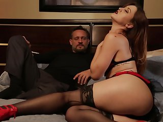 Brunette Karlie Montana and her man are so fucking horny in this hardcore sex action