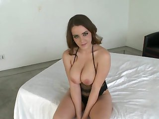 Brunette Natasha Nice with giant tits and clean beaver gives a closeup view of her pussy hole as she masturbates