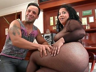 Yummy hussy Roge Ferro with giant hooters and bald bush shows oral sex tricks to hot blooded man with desire