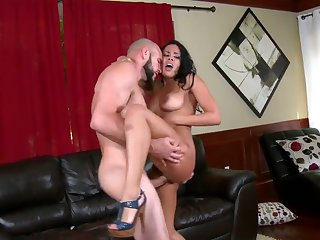 Piercings latin with huge jugs and hairless twat is on fire in cumshot sex action