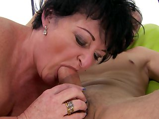 Mature finds her mouth filled with dude's erect ram rod