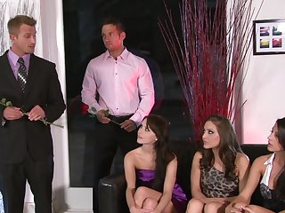 Brunette hoochie Kelly Klass gets her mouth attacked by Johnny Castle's stiff schlong after she gets assfucked