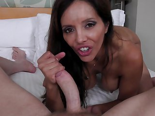 Brunette is in heaven sucking Mark Wood's cum loaded love stick