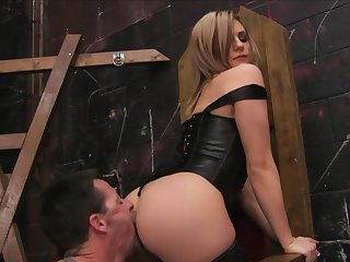 Blonde Baily Blue gets throat fucked by Jack Vegas's throbbing tool