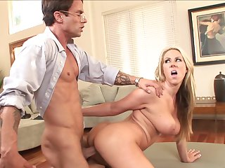 Blonde bombshell Carlin Reese with gigantic tits wants Alan Stafford shove his dick in her eager mouth