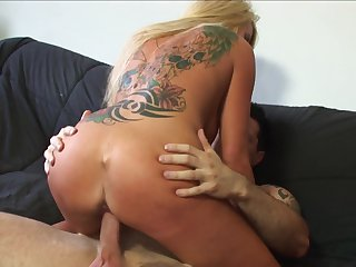 Blonde with huge breasts and her hard cocked fuck buddy both enjoy blowjob session