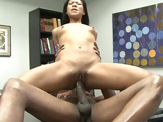 Teen Emy Reyes shows off her sexy body while getting her mouth drilled by Sean Michaels's hard cock