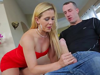 Blonde Cherie Deville has oral fun with hard dicked fuck buddy