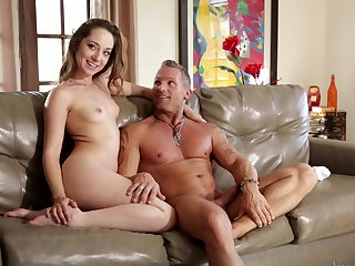 Brunette takes Marcus London's sausage up her slit