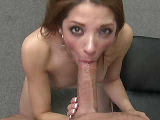 Brunette Evilyn has some dirty fantasies to be fulfilled with Peter North's erect sausage in her mouth
