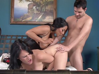 Kris Slater whips out his worm to fuck alluring Ashli Ames's throat
