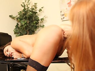 Redhead minx Michelle Lay can't resist the temptation to have sensual lesbians sex with gorgeous Pepper Kester
