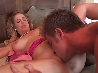 Blonde Cherie Deville with big breasts is horny as fuck with mans love stick deep inside her dripping wet fuck hole
