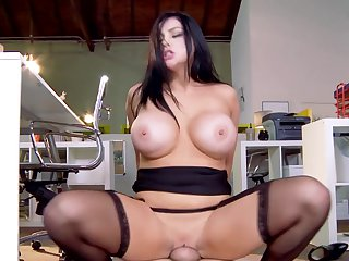 Horny as hell Audrey Bitoni with huge fake tits