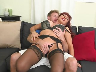 Big titted redhead MILF Vanessa Bella gets it