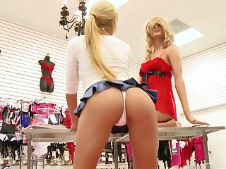 Skinny amateur blonde gets nude and takes a dildo