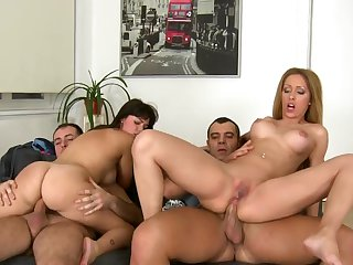Ava Dalush and Melanie Gold get fucked by two fat cocks