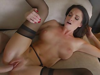 Hard sex in black stockings with Silvia Saige