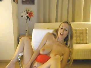 Blonde Babe In Red Lingerie Dildo Fuck Her Pussy