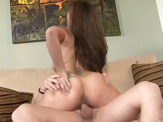 Brunette Raylene has a great time blowing guy's tool