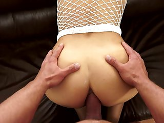 Brunette gives unbelievable oral pleasure to horny dude by blowing his meat stick