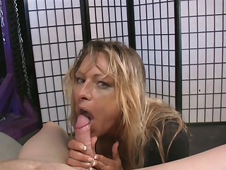 Blonde gal with huge breasts getting satisfaction with guy's fuck stick in her sweet mouth