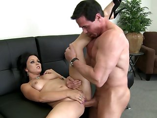 Peter North fucks Brunette Ally Styles in her mouth as hard as possible in oral action