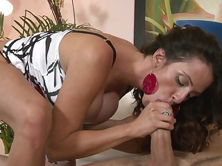 Brunette Ariella Ferrera with juicy jugs shows off her hot body as she gets her mouth banged
