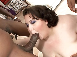 Brunette gets an interracial fuck